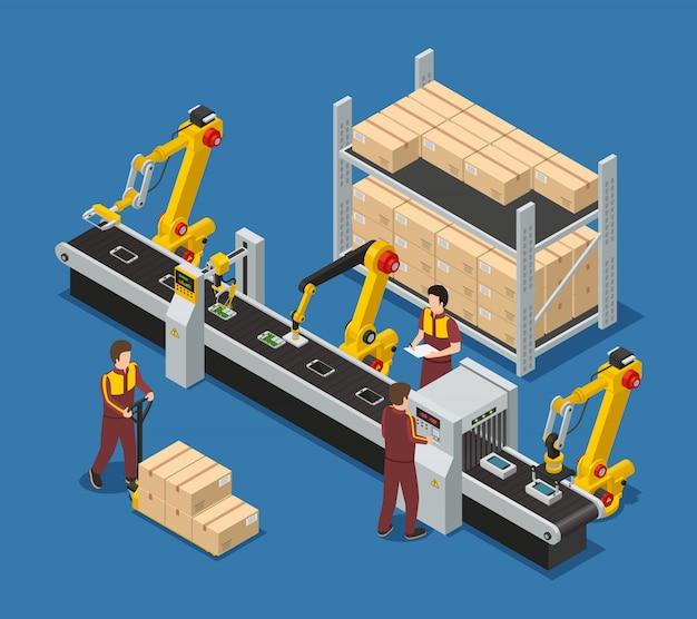 Composición de la fábrica de productos electrónicos con línea de transportador robótico de personal de teléfonos con pantalla táctil y cajas de paquetes
