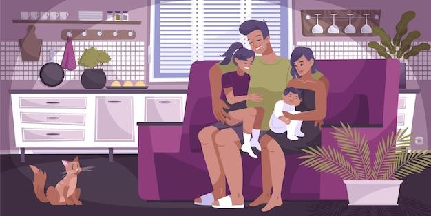 Composición familiar de abrazo plano con madre, padre y dos hijos abrazándose mientras están sentados en el sofá