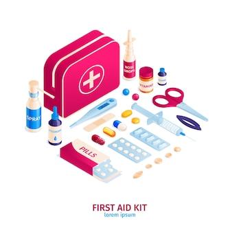 Composición de farmacia de medicina isométrica con contenido de bolsa de botiquín de primeros auxilios