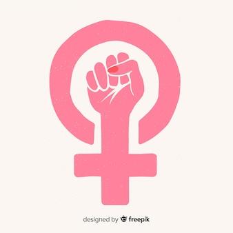 Composición feminista con puño de estilo grunge