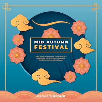 Composición del festival de medio otoño con estilo de papel