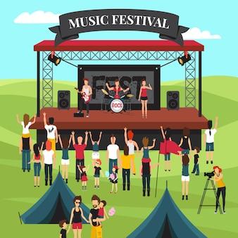 Composición de festival de música al aire libre