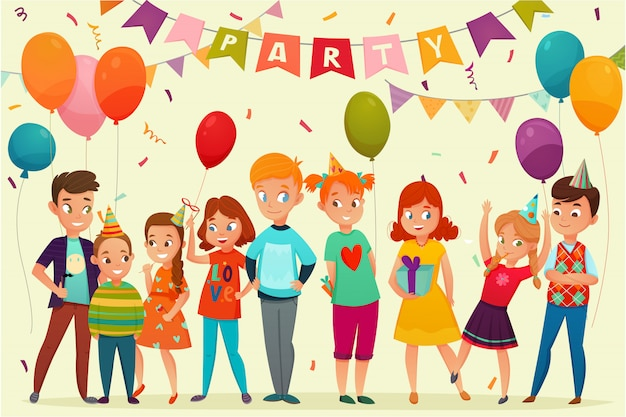 Composición fiesta de los niños