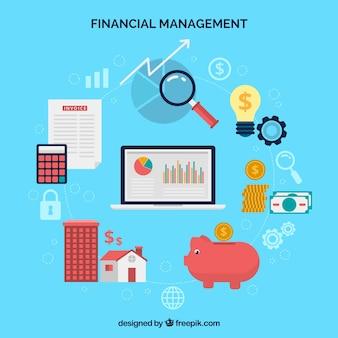 Composición financiera con elementos divertidos