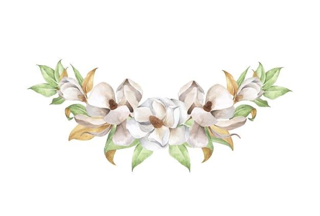 Composición floral acuarela. magnolia, un tierno ramo.