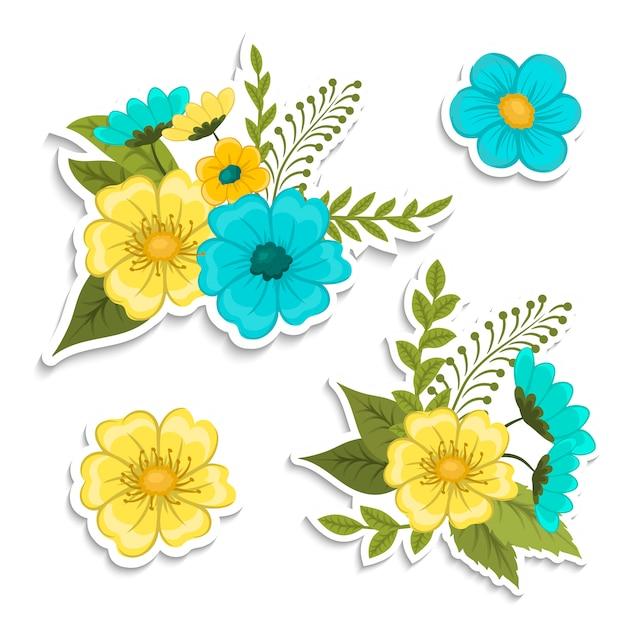 Composición floral con coloridas flores.