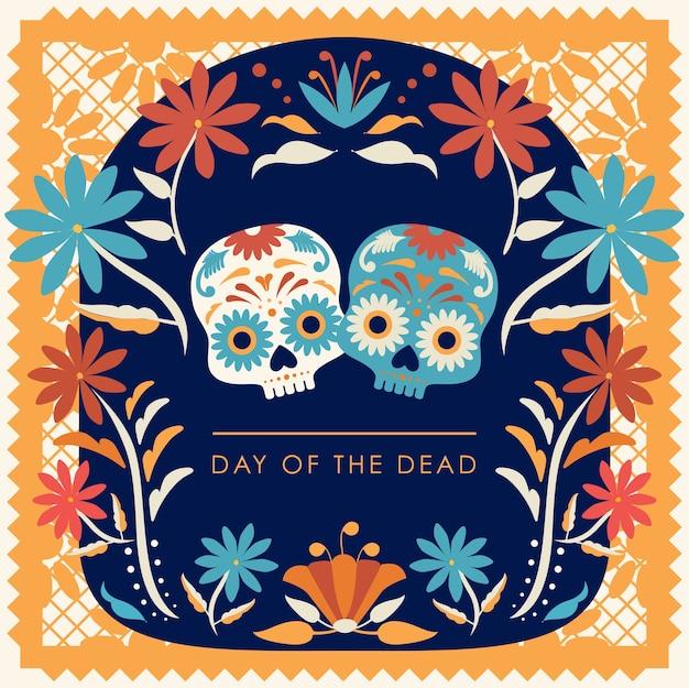 Composición floral del día de los muertos con calaveras