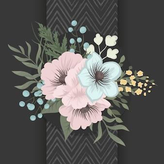 Composición floral con elegantes flores azules.