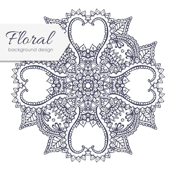 Composición floral con flor de zentangle.