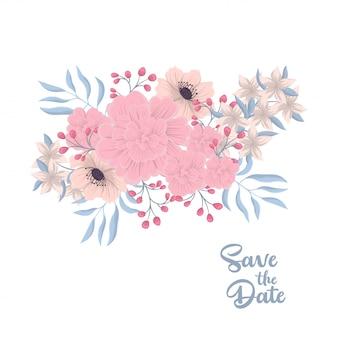 Composición floral con flores de colores.
