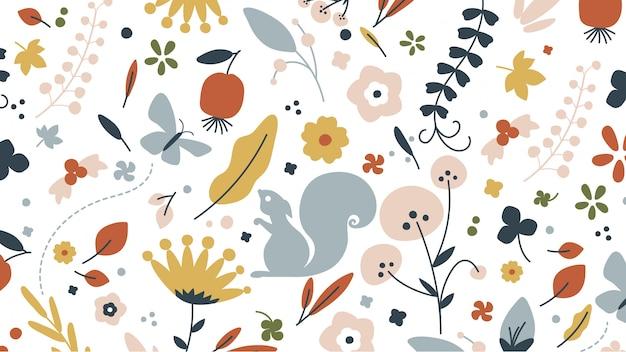 Composición floral mexicana bordado plano