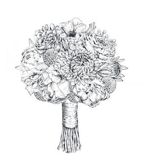 Composición floral ramo bradal con hermosas flores dibujadas a mano, plantas, cinta. ilustración monocroma en estilo boceto