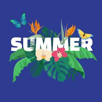 Composición floral de verano con hojas tropicales, flores y mariposas sobre fondo azul. ilustración