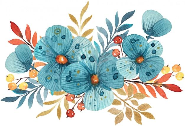 Composición con flores acuarelas dibujadas a mano