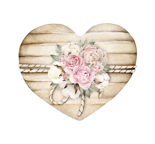 Composición de flores y algodón en tablero de madera con forma de corazón