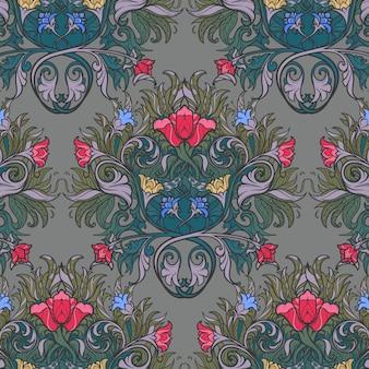 Composición de flores decorativas con estilizadas amapolas rojas y campanillas. patrón sin costuras de estilo gótico medieval.