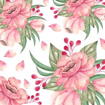 Composición de flores y hojas de acuarela