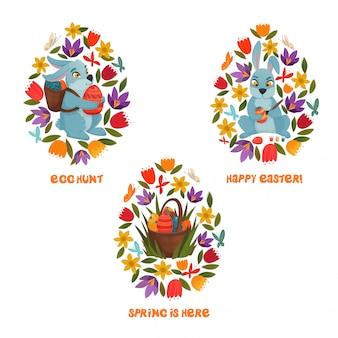 Composición de flores de primavera de caza de huevos de pascua
