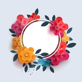 Composición de flores con el texto en un círculo.
