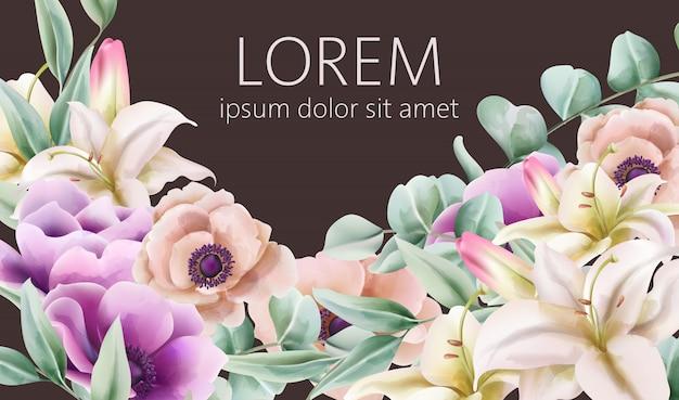 Composición de flores vintage de lirio y peonía con hojas verdes