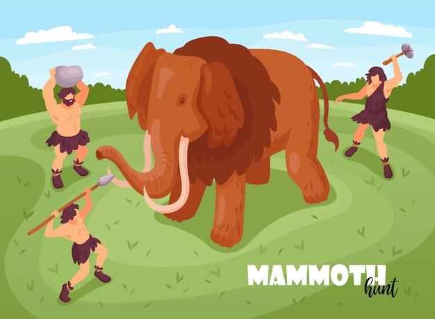 Composición de fondo de caza de hombre de las cavernas de personas primitivas isométricas con texto e imágenes de ilustración de mamuts y antiguos