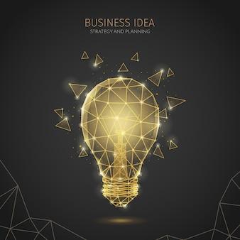 Composición de fondo de estrategia empresarial de estructura metálica poligonal con texto editable e imagen de lámpara incandescente con polígonos