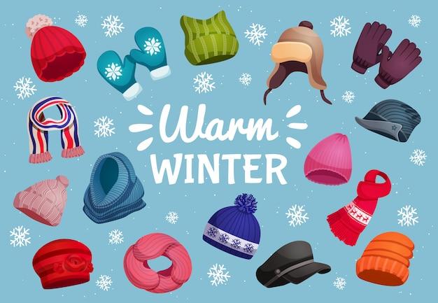 Composición de fondo horizontal de sombreros de bufanda de invierno estacional con copos de nieve texto adornado e ilustración de imágenes de ropa de abrigo aislado