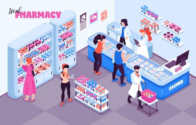 Composición de fondo isométrico de farmacia con vista interior de la tienda de medicina personajes humanos y bastidores con ilustración de estantes