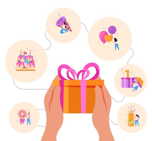 Composición de fondo plano de cumpleaños con manos sosteniendo una caja de regalo rodeada de iconos de círculo