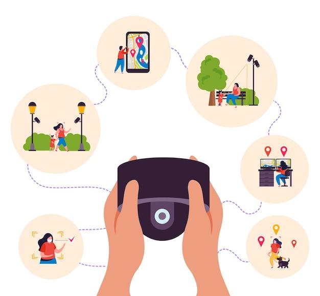 Composición de fondo plano de monitoreo de video de la ciudad con manos sosteniendo el control remoto