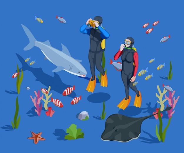 Composición de fondo de turismo submarino