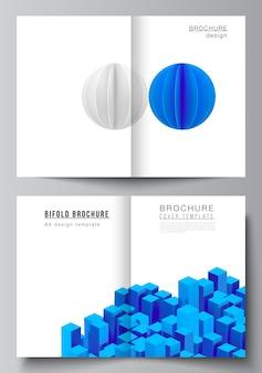 Composición con formas azules geométricas realistas dinámicas en movimiento.