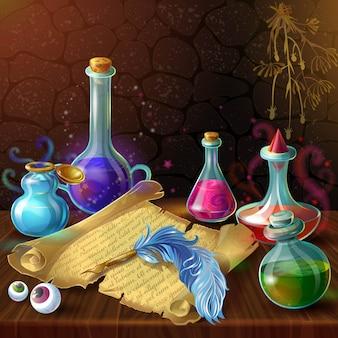 Composición de frascos de pociones mágicas
