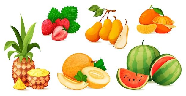 Composición de fruta madura o conjunto de vectores de composición
