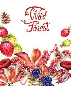 Composición de frutas del bosque salvaje