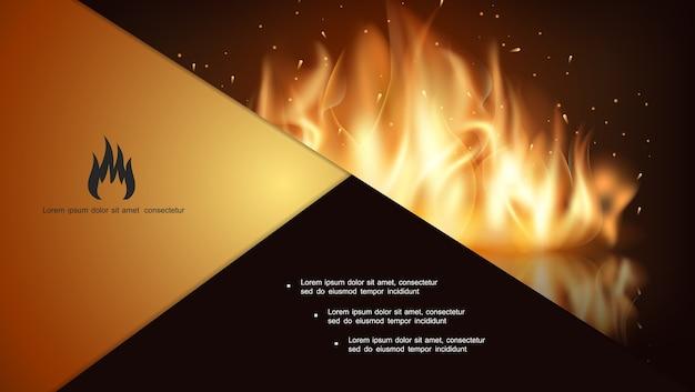 Composición de fuego caliente que brilla intensamente