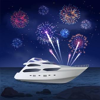 Composición de fuegos artificiales de crucero de vacaciones