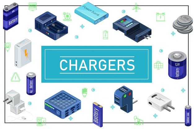 Composición de fuentes de carga modernas isométricas con enchufes, cargadores, baterías de diferente capacidad en el marco
