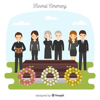 Composición de funeral con diseño plano