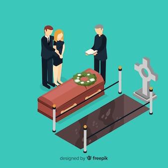 Composición de funeral con vista isométrica