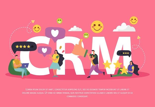 Composición de gestión de relaciones con clientes de crm de personajes humanos de dibujos animados.