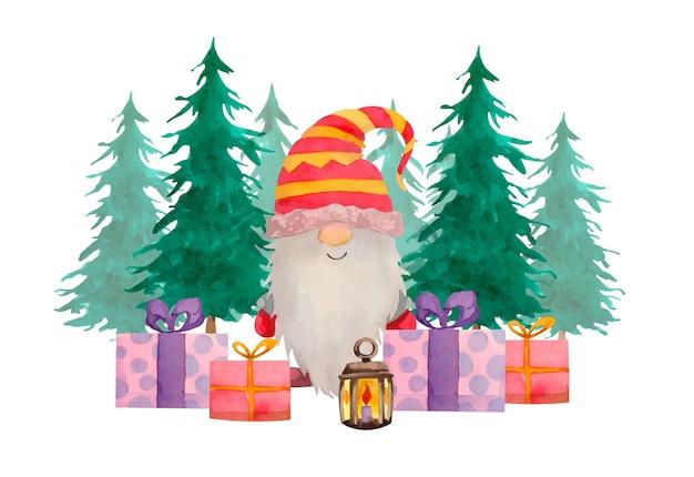Composición de gnomo nórdico navideño en acuarela con pinos y cajas presentes