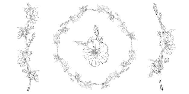 Composición gráfica floral con flores de primavera.