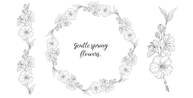 Composición gráfica floral con flores primaverales.