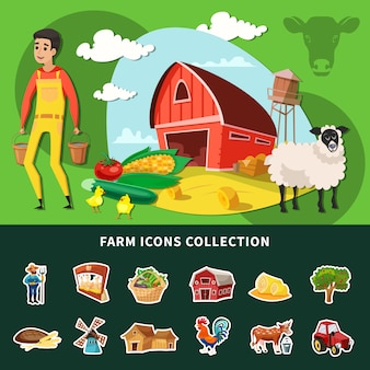 Composición de granja de dibujos animados