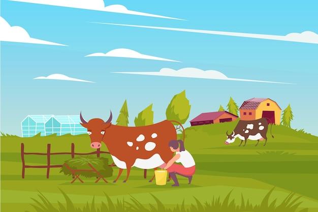 Composición de granjero lechera con paisaje al aire libre, granja, edificios y vacas pastando