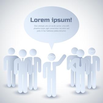 Composición gris de trabajo en equipo con un grupo de personas que escuchan la opinión de su líder