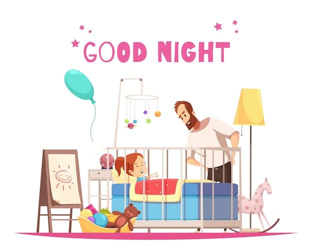 Composición de la habitación de los niños con el padre que desea a la hija buenas noches antes de dormir