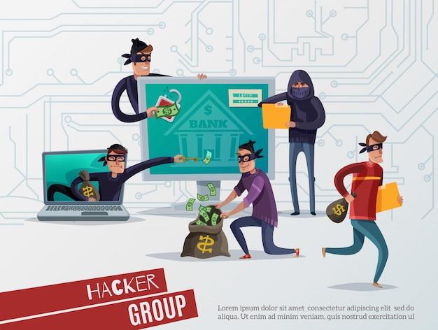 Composición de hackers de internet