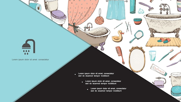 Composición de higiene personal dibujada a mano